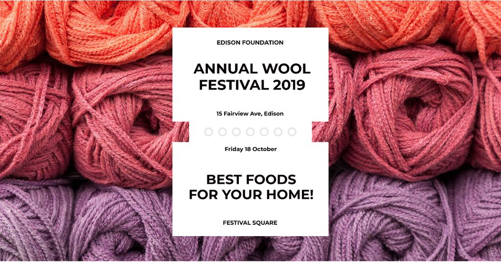 Annual wool festival with colorful threads — Maak een ontwerp