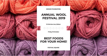 Annual wool festival with colorful threads Facebook AD Modelo de Design