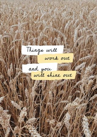 Inspirational Citation with Wheat Field Poster – шаблон для дизайну