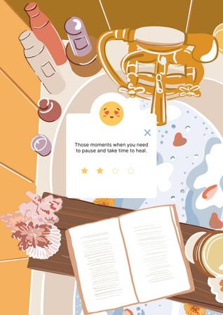 Modèle de visuel Mental Health Inspiration with Cozy relaxing Bath - Poster