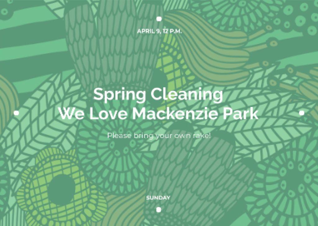 Ontwerpsjabloon van Postcard van Spring Cleaning Event Invitation Green Floral Texture