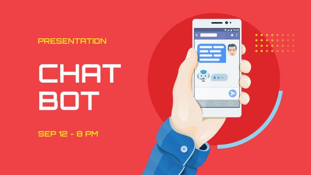 Plantilla de diseño de Chat Bot Presentation Ad with Man holding Phone FB event cover