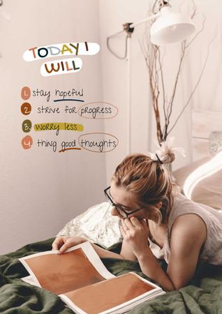 Plantilla de diseño de Mental Health Inspiration with Woman reading Magazine Poster