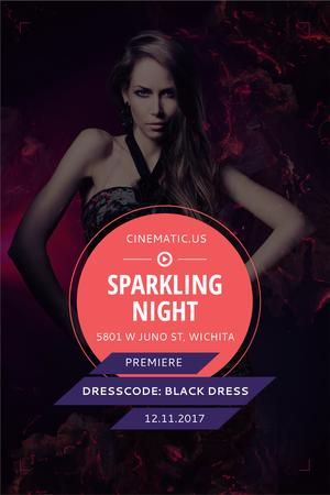 Night Party Invitation with Woman in Black Dress Pinterest Modelo de Design