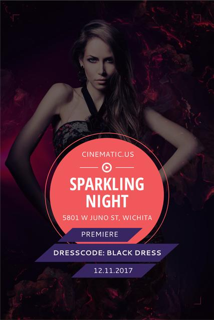 Night Party Invitation with Woman in Black Dress Pinterest Tasarım Şablonu