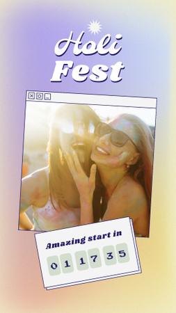 Plantilla de diseño de Holi Festival Announcement with Happy Women Instagram Story