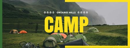 Plantilla de diseño de Camping Offer with Tents in Mountains Facebook cover