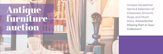 Plantilla de diseño de Antique Furniture Auction Vintage Wooden Pieces Twitter