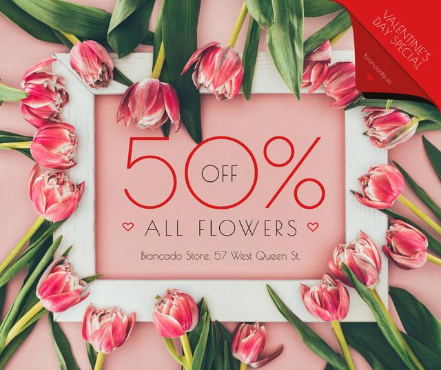 Plantilla de diseño de Valentine's Day Tulips Frame in Pink Facebook