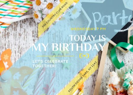 Birthday Party Invitation Bows and Ribbons Postcard Design Template