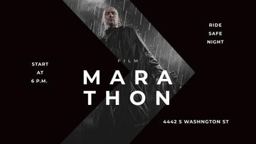 Film Marathon Ad with Man with Gun under Rain