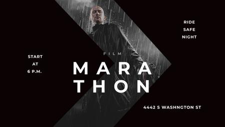 Template di design Film Marathon Ad with Man with Gun under Rain Youtube