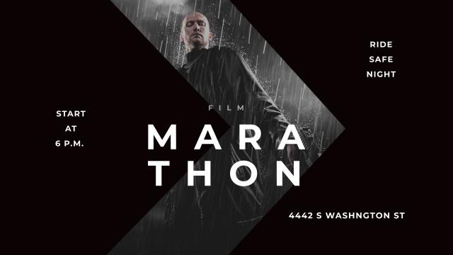 Plantilla de diseño de Film Marathon Ad with Man with Gun under Rain Youtube