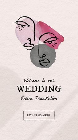 Wedding Online Translation Announcement with Newlyweds Illustration Instagram Story – шаблон для дизайна