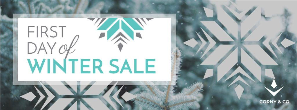 First Winter Day Sale with Tree Covered in Snow — Crear un diseño