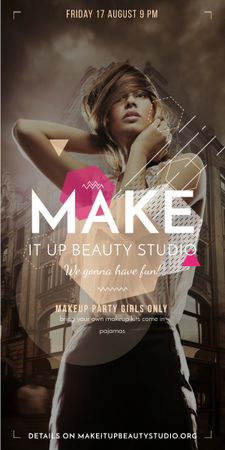 Plantilla de diseño de Beauty Studio ad with stylish Woman Graphic