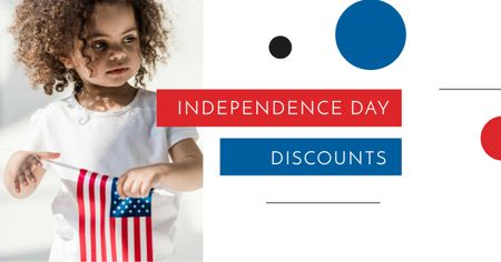 Plantilla de diseño de Independence Day Discounts Offer with Child holding Flag Facebook AD