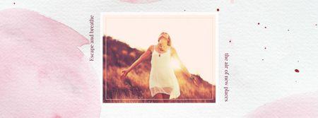 Modèle de visuel Woman dancing in sunlight - Facebook cover