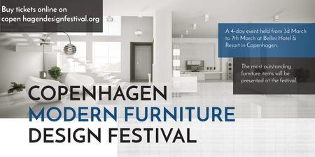 Plantilla de diseño de Furniture Festival ad with Stylish modern interior in white Image