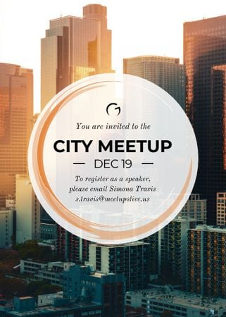 Plantilla de diseño de City meetup announcement on Skyscrapers view Flayer