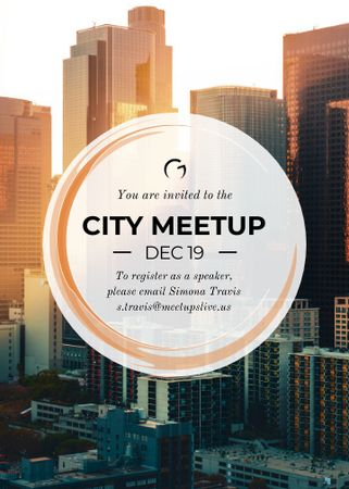 City meetup announcement on Skyscrapers view Flayerデザインテンプレート