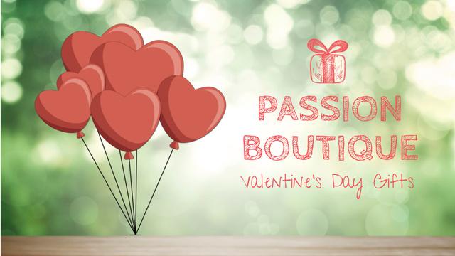 Valentine's Day heart-shaped Balloons Full HD videoデザインテンプレート