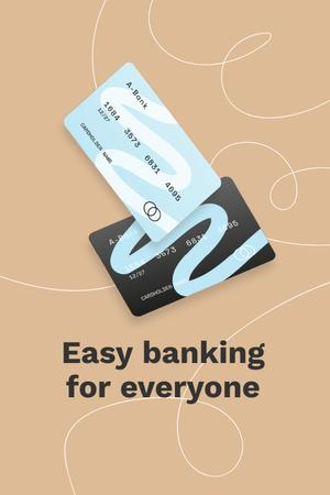 Banking Services ad with Credit Cards Pinterest Design Template