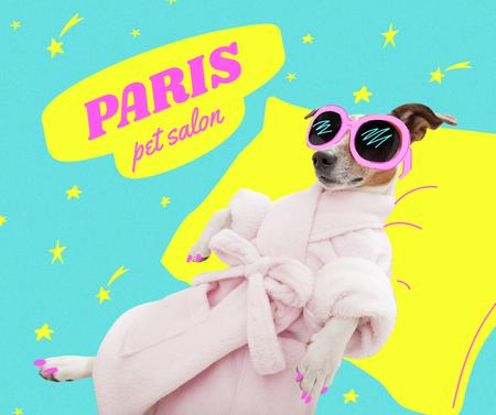 Modèle de visuel Funny Dog resting in Sunglasses and Robe - Facebook