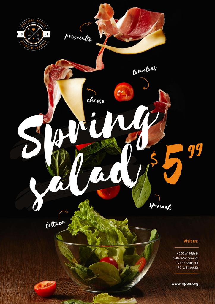 Spring Menu Offer with Salad Falling in Bowl — Crear un diseño