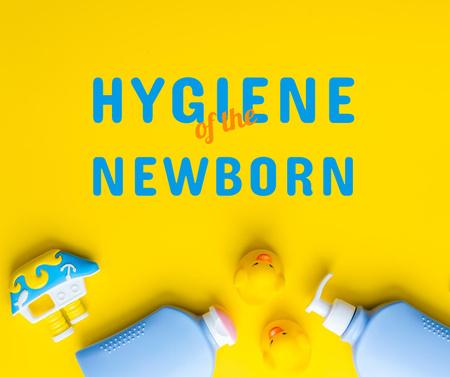 Plantilla de diseño de Hygiene of Newborn Ad with Baby Bottles Facebook