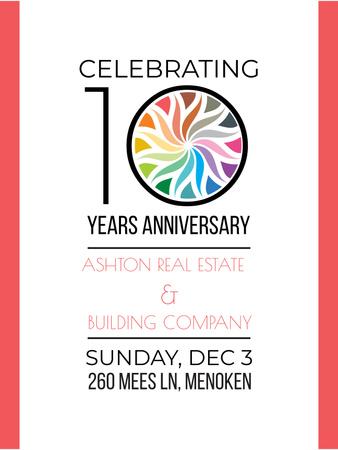 Celebrating company 10 years Anniversary Poster US – шаблон для дизайна