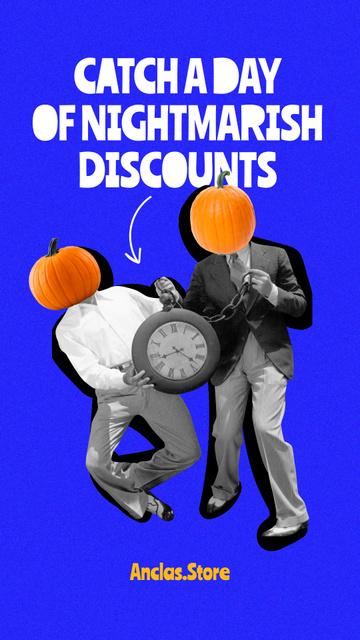 Plantilla de diseño de Funny Men with Pumpkins Heads Instagram Story