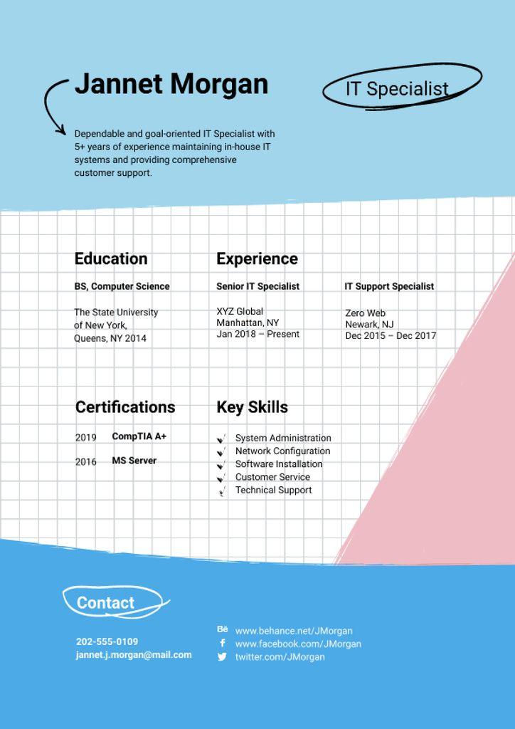 Programmer skills and experience Resume – шаблон для дизайна