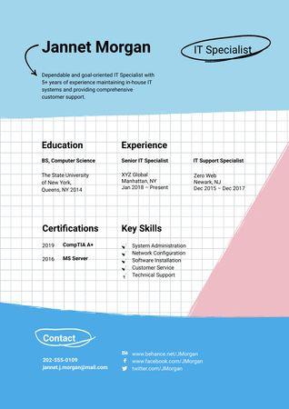 Programmer skills and experience Resume – шаблон для дизайну