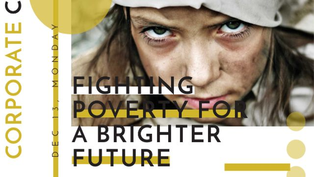 Poverty quote with child on Corporate Charity Day Title – шаблон для дизайна
