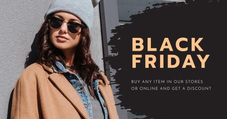 Modèle de visuel Black Friday Special Offer with Stylish Woman in Sunglasses - Facebook AD