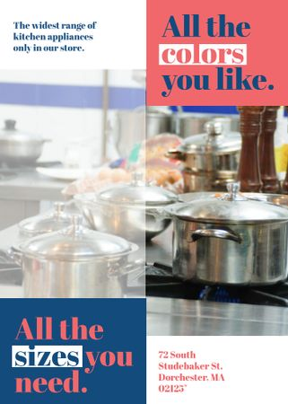 Kitchen Utensils Store Ad Pots on Stove Invitation Modelo de Design