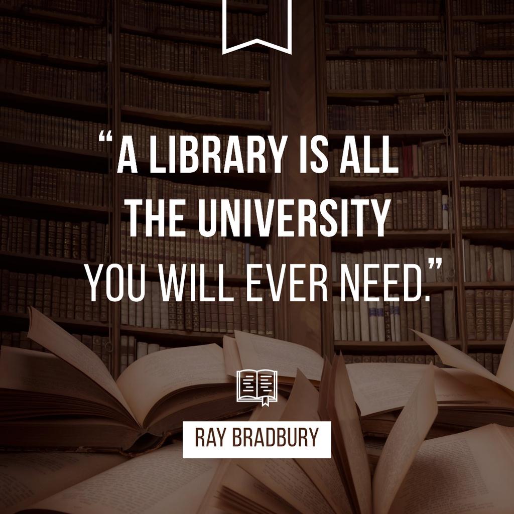 Citation about Library University Instagram Modelo de Design