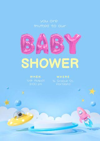 Baby Shower Announcement with Cartoon Spaceship and Rocket Invitation – шаблон для дизайну