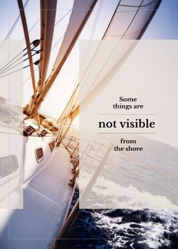 White Yacht in Sea with Inspirational Quote