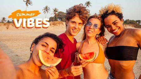 Designvorlage Friends eating Watermelon on Beach für Youtube Thumbnail