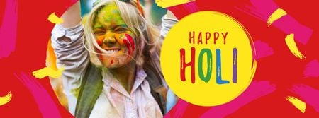 Template di design Holi Festival Greeting with Happy Girl Facebook cover
