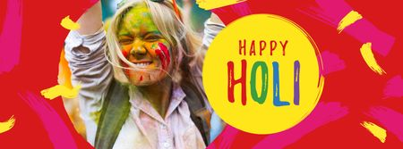 Holi Festival Greeting with Happy Girl Facebook cover Design Template