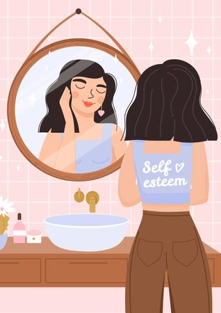 Plantilla de diseño de Self Esteem Inspiration with Girl admiring in Mirror Poster