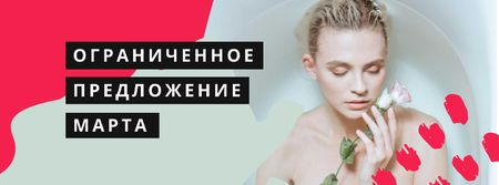 Women's Day Offer with Girl holding Flower in Bath Facebook cover – шаблон для дизайна