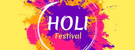 Indian Holi Festival Announcement Facebook cover Modelo de Design