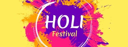 Indian Holi Festival Announcement Facebook cover Design Template