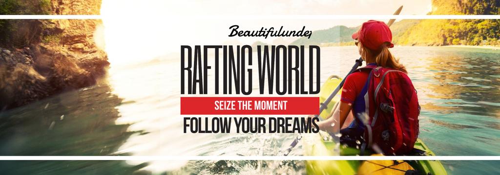 Rafting Tour Invitation with Woman in Boat — Crea un design
