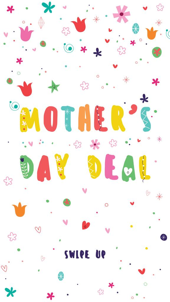 Modèle de visuel Mother's Day Sale Offer on Bright Pattern - Instagram Story