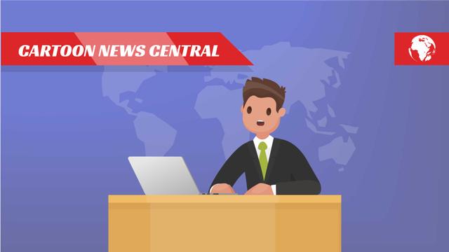 Newscaster in the Television Studio Full HD video Tasarım Şablonu